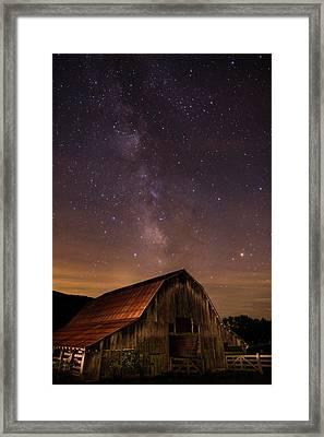 Milky Way Over Boxley Barn Framed Print