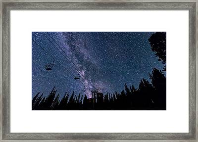 Milky Way Over Chairlift Framed Print
