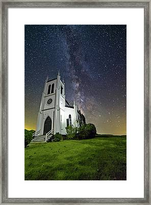 Framed Print featuring the photograph Milky Way Over Church by Lori Coleman