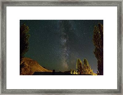 Milky Way Over Farmland In Central Oregon Framed Print