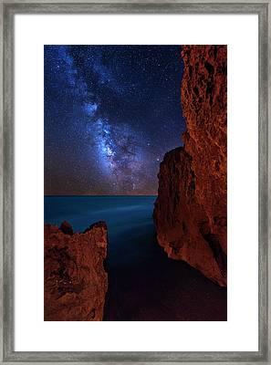 Milky Way Over Huchinson Island Beach Florida Framed Print by Justin Kelefas