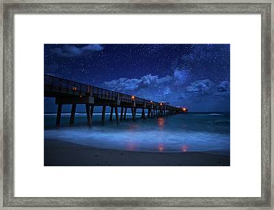 Milky Way Over Juno Beach Pier Under Moonlight Framed Print