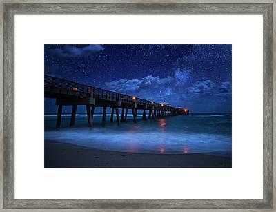 Milky Way Over Juno Beach Pier Under Moonlight Framed Print