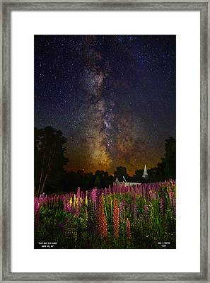 Milky Way Over Lupine Field Framed Print
