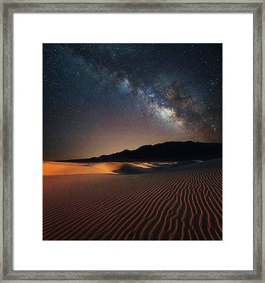 Framed Print featuring the photograph Milky Way Over Mesquite Dunes by Darren White
