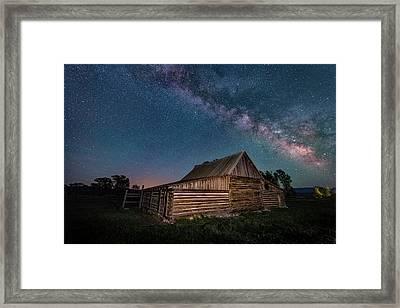 Milky Way Over Moulton Barn Framed Print