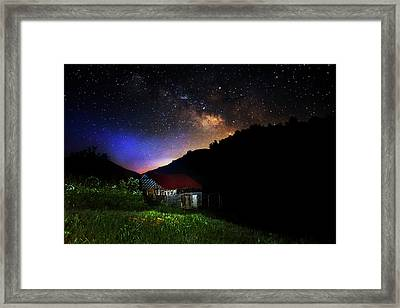 Milky Way Over Mountain Barn Framed Print