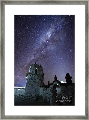 Milky Way Over Parinacota Church Chile Framed Print by James Brunker