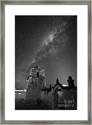 Milky Way Over Parinacota Church In Black And White Chile Framed Print by James Brunker