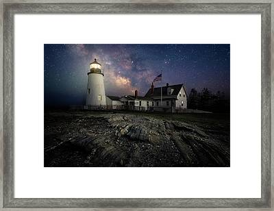 Milky Way Over Pemaquid Point Lighthouse Framed Print