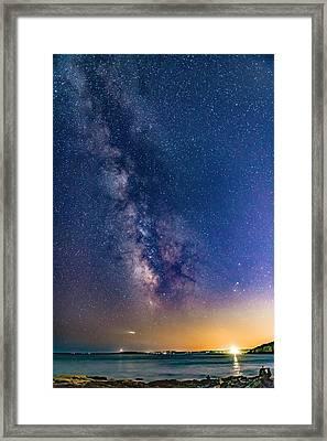 Milky Way Over Portland Head Framed Print