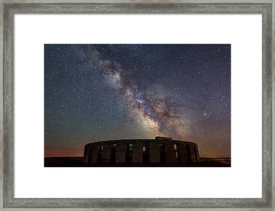 Framed Print featuring the photograph Milky Way Over Stonehendge by Cat Connor