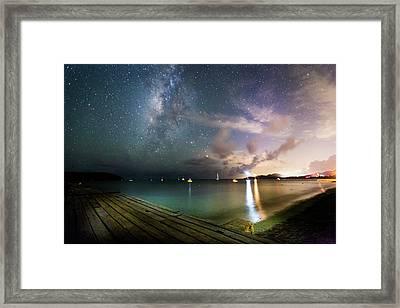 Milky Way Over Sugar Cane Pier Framed Print by Karl Alexander
