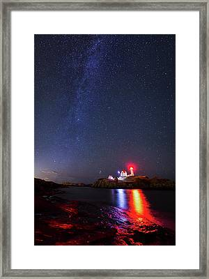 Milky Way Over The Nubble Lighthouse  Framed Print by Mircea Costina Photography