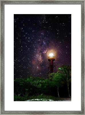 Milky Way Over The Sanibel Lighthouse Framed Print
