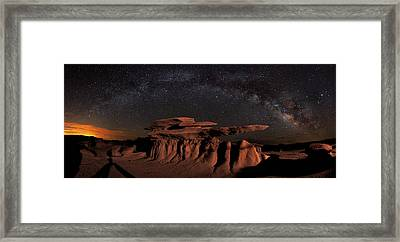 Milky Way Rainbow In The Bisti Badlands Framed Print