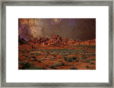 Framed Print featuring the photograph Milky Way Rising Over The Valley Of Fire by Charles Warren