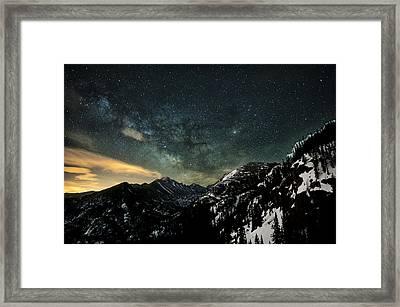 Milky Way Skies Over Glacier Gorge Framed Print by Mike Berenson