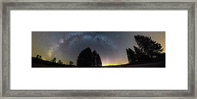 Framed Print featuring the photograph Milkyway And Northernlights Pano by Aaron J Groen