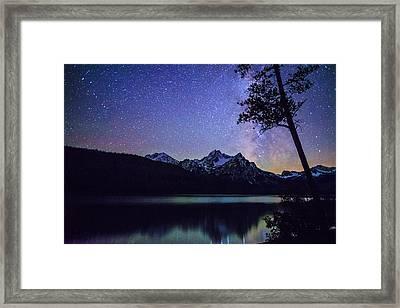 Milkyway Over Mount Mc Gowan At Stanley Lake In Idaho Framed Print
