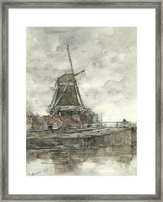 Mill And The Bridge At The North West Buitensingel Hague Framed Print
