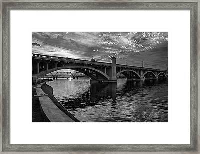 Framed Print featuring the photograph Mill Avenue Bridge At Sunset Black And White by Dave Dilli