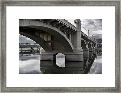Mill Avenue Bridge In Tempe Arizona B And W Framed Print by Dave Dilli