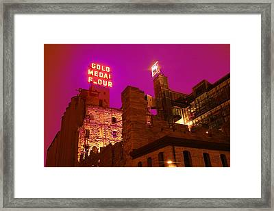 Mill City At Night Framed Print
