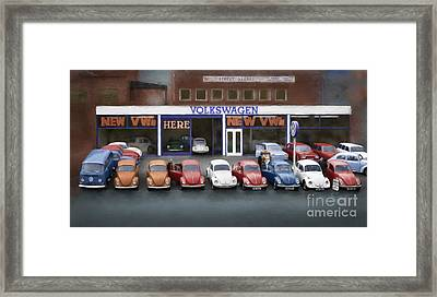 Mill Street Volkswagen Garage - 1970's Framed Print by Linton Hart