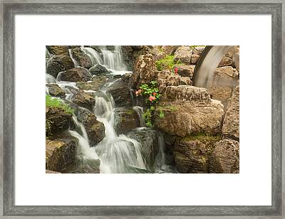 Framed Print featuring the photograph Mill Wheel With Waterfall by David Coblitz