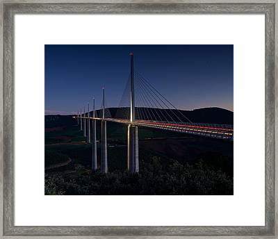Millau Viaduct At Night Framed Print by Stephen Taylor