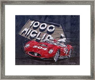Mille Miglia Maserati Framed Print by Roberto Muccillo