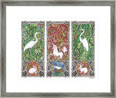 Millefleurs Triptych With Unicorn, Cranes, Rabbits And Dove Framed Print by Lise Winne