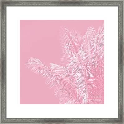 Millennial Pink Illumination Of Heart White Tropical Palm Hawaii Framed Print