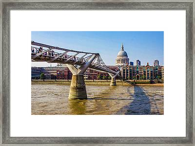 Millennium Bridge And St. Paul's Framed Print by Venetia Featherstone-Witty