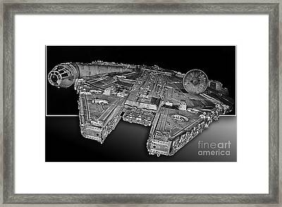 Millennium Falcon Attack Framed Print by Kevin Fortier