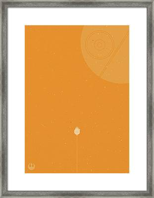 Millennium Falcon Meets Death Star Framed Print by Samuel Whitton