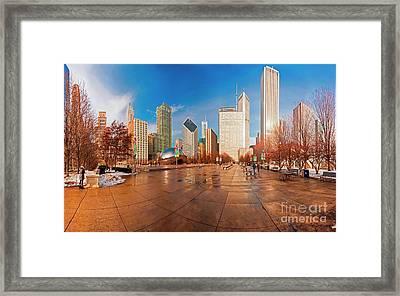 Millennium Park Skyline And The Bean  Framed Print
