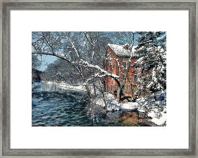 Mill House In Winter Framed Print