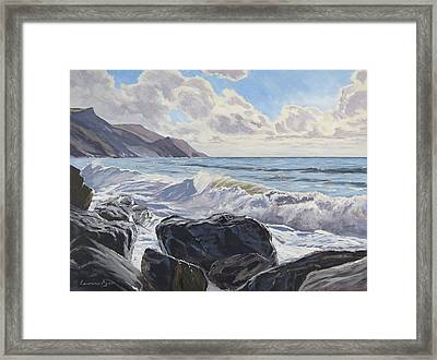 Framed Print featuring the painting Millook Haven by Lawrence Dyer