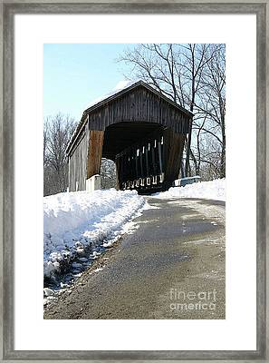 Millrace Park Old Covered Bridge - Columbus Indiana Framed Print