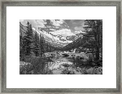 Mills Lake Black And White Framed Print