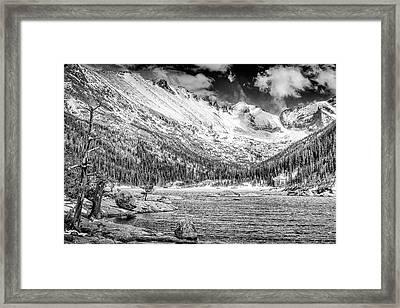 Mills Lake Monochrome Framed Print