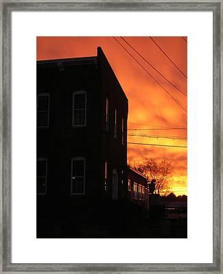 Millyard Sunset Framed Print by Nancy Ferrier