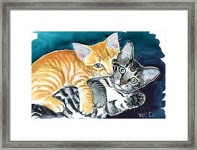 Milo And Tigger - Cute Kitty Painting Framed Print