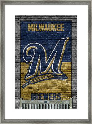 Milwaukee Brewers Brick Wall Framed Print by Joe Hamilton