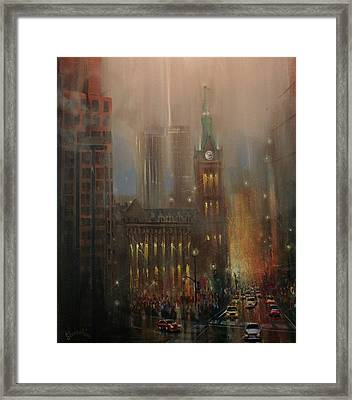 Milwaukee Rain Framed Print by Tom Shropshire