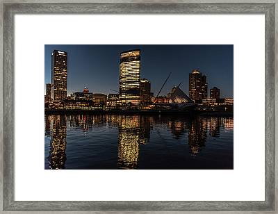 Framed Print featuring the photograph Milwaukee Reflections by Randy Scherkenbach