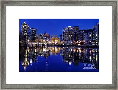 Milwaukee River Twilight Winter Framed Print by John December