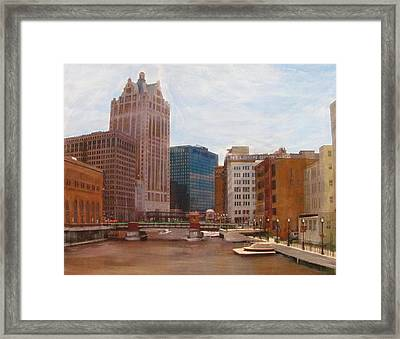 Milwaukee River View Framed Print by Anita Burgermeister